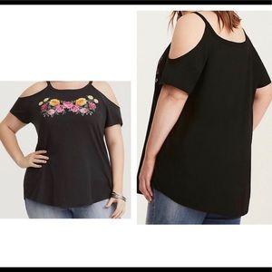 TORRID Black Floral Print Cold-shoulder T-Shirt